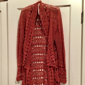 Perfect fall long length open weave cardie